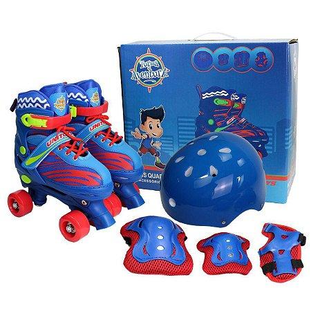 Patins Roller Infantil Quad Ajustável 34-37 + Kit de Proteção Azul Unitoys