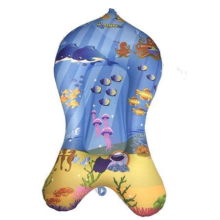 Almofada para Banheira de Banho do Bebê Fundo do Mar Azul