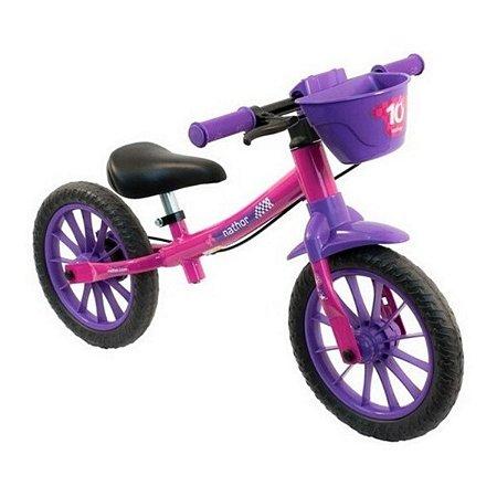 Bicicleta Infantil Sem Pedal Balance Bike Rosa Feminina Nathor