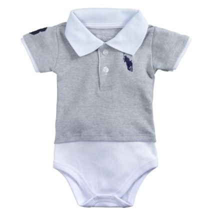 Body Polo para Bebê Manga Curta Cinza
