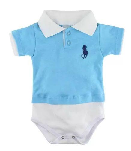 Body Polo para Bebê Manga Curta Azul Claro