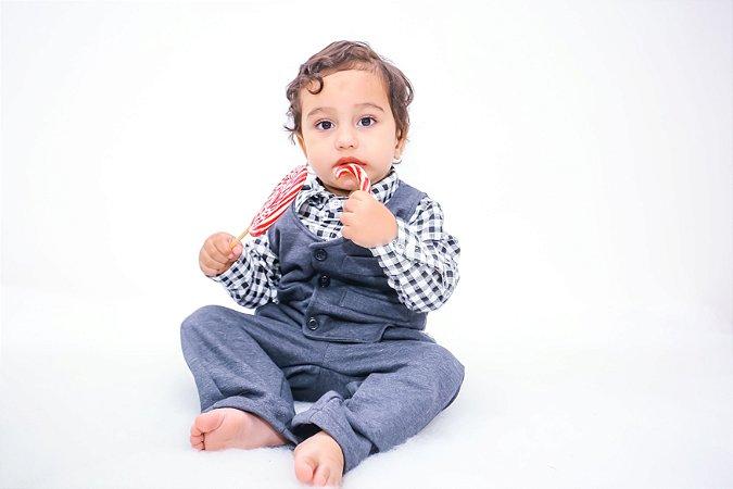 Conjunto Social para Bebê Calça, Colete e Camisa Xadrez