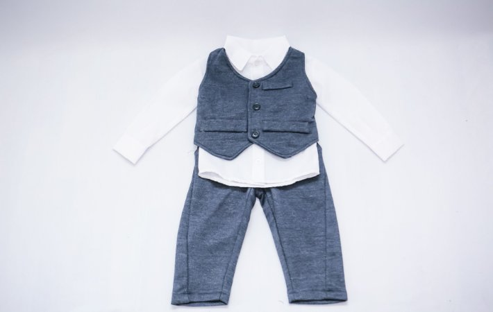 Conjunto Social para Bebê Calça, Colete e Camisa Branca