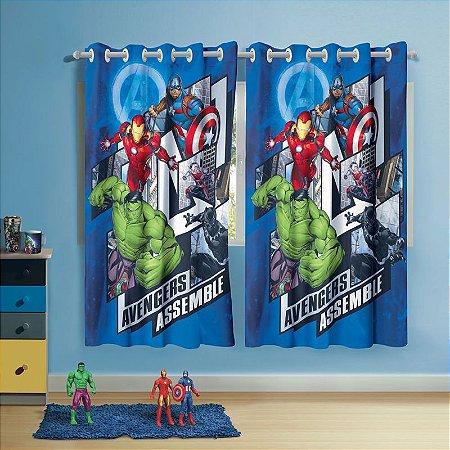 Cortina com ilhos Infantil Estampada Avengers 1,50 m x 1,80 m Com 2 pecas
