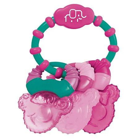 Mordedor para Bebê com Gel Cool Rings Rosa Multikids