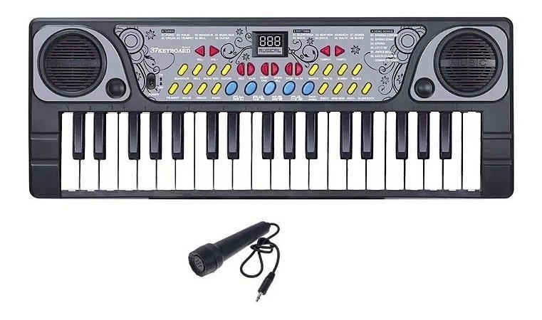 Teclado Infantil Musical com Microfone e 37 Teclas