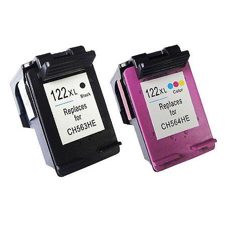 Kit Cartucho Hp 122XL Preto + Hp 122XL Colorido Compativel p/ Hp 1000 2000 3050