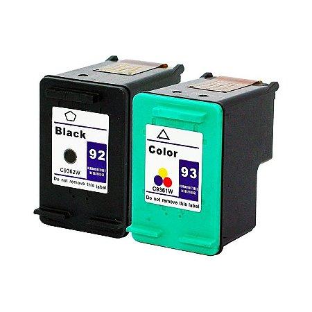 Kit Cartucho Hp 92 Preto + Hp 93 Colorido Compativel p/ Hp 1510 C3180