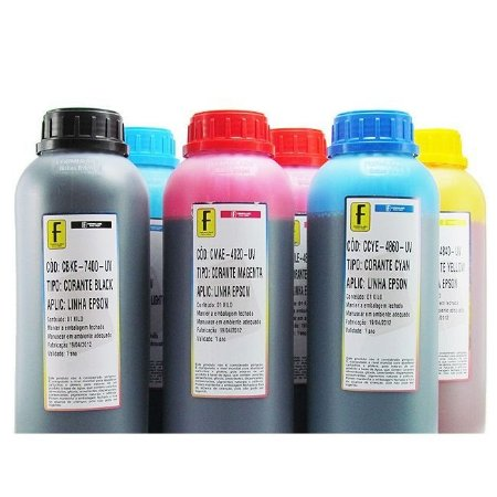 Kit 6 Litros de Tinta Formulabs Epson Corante UV 1 Litro de Cada Cor | 6 Cores
