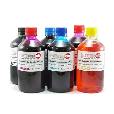 Kit 3 Litros de Tinta Formulabs Epson Corante UV 500ml de Cada Cor | 6 Cores