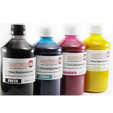 Kit 2 Litros de Tinta Inktec Pigmentada Epson 500ml de Cada Cor   4 Cores