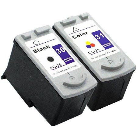 Kit Cartucho de Tinta Compatível Canon PG30 Preto e CL31 Color
