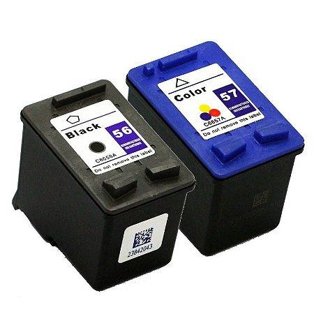Kit Cartucho Hp 56 Preto + Hp 57 Colorido Compativel p/ 1210 1310 1315