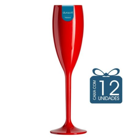 12 Taças Champagne 160 ml Vermelha