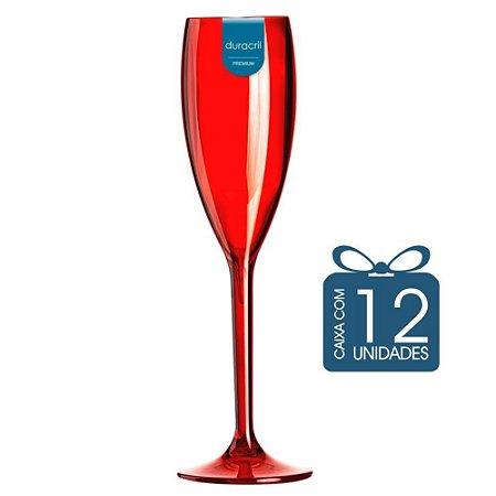 12 Taças Champagne 160 ml Vermelha Translúcida