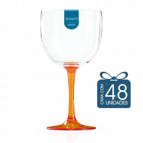 48 Taças de Gin Bicolor 580 Ml Laranja Translúcida