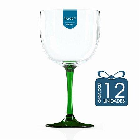 12 Taças de Gin Bicolor 580 Ml Verde Translúcida