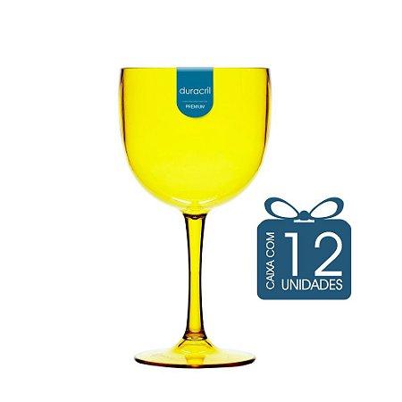 12 Taças de Gin 450 Ml Amarelo Translúcido