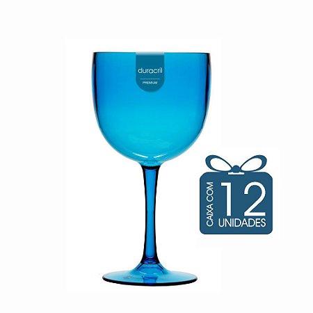 12 Taças de Gin 450 Ml Azul Claro Translúcido