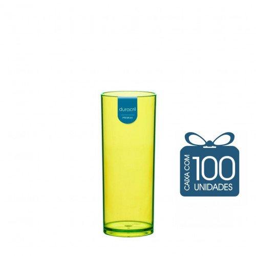 100 Copos Long Drink 330 ml Amarelo Neon