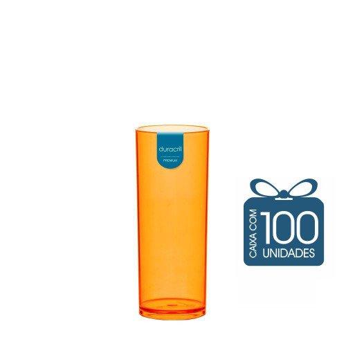 100 Copos Long Drink 330 ml Laranja Neon
