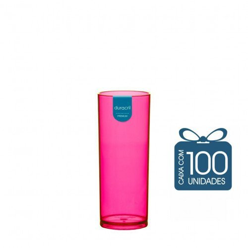 100 Copos Long Drink 330 ml Rosa Neon