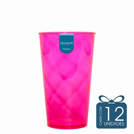 12 Copos Twister 500 ml Rosa neon