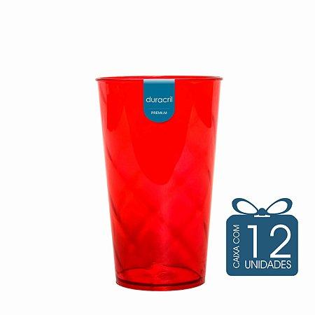 12 Copos Twister 500 ml Vermelho Translúcido