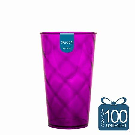 100 Copos Twister 500 ml Roxo