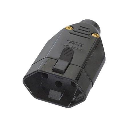 Plug Femea 2P+T 20A 180° Preto (08321470) - Fame