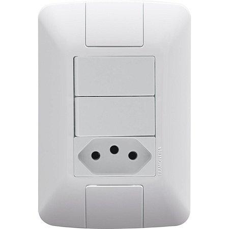 Interruptor Aria Branco Paralelo+1Tomada 2P+T 10A (6423887) - Tramontina