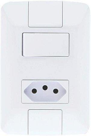 Interruptor Aria Branco Simples 6A +1Tomada 2P+T 10A (57241064) - Tramontina