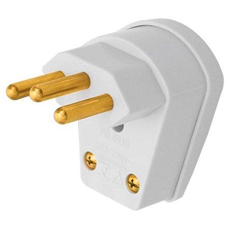Plug Macho 2P+T 90° Triangulo Cinza 10A (08314810) - Fame