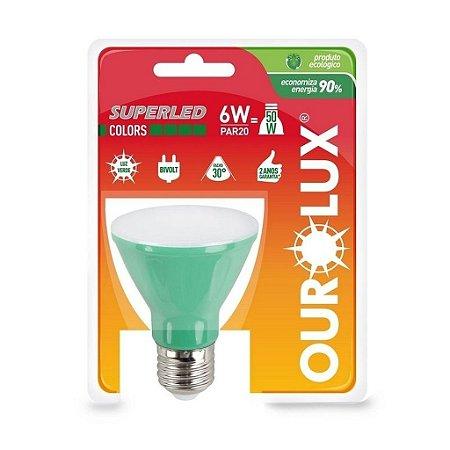 LAMPADA LED PAR20 6W BIV 30 VERDE OUROLUX
