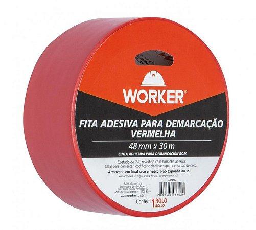 FITA P DEMARCAÇÃO ADESIVA 48MMX30M VERMELHA WORKER