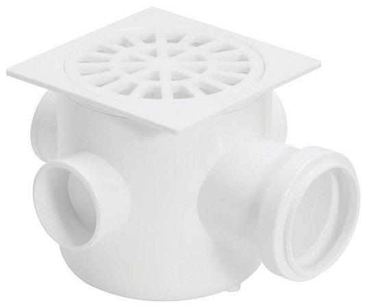 Caixa Sifonada 10 X 10 X 50 Quadrada com Grelha Quadrada (20784) - Amanco