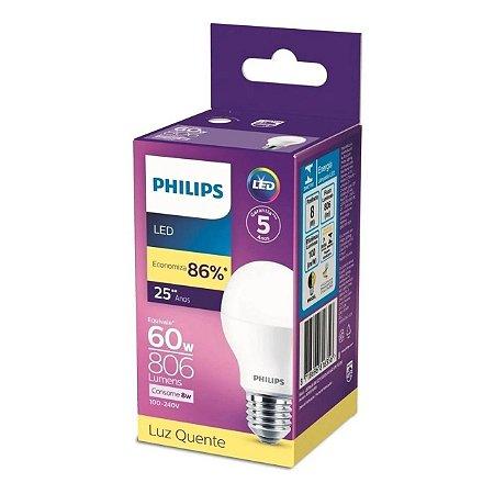 LAMPADA LED E27 BULBO 8W 3000K PHILIPS