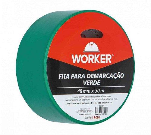 FITA P DEMARCACAO ADESIVA 48MMX30M VERDE WORKER