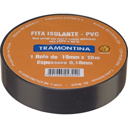 Fita Isolante 10m X 0,18mm X 19mm PT (57541010) - Tramontina