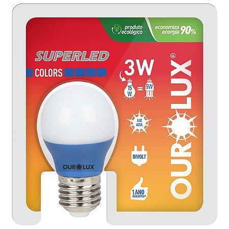 LAMPADA SUPERLED S30 COLORS 3W BIVOLT AZUL OUROLUZ