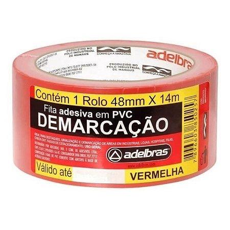 FITA P DEMARCAÇAO ADESIVA 48MM X 14M VERMELHA - ADELBRAS