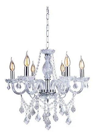 Lustre Candelabro Cristal Transparente 6 Braços Sorteluz