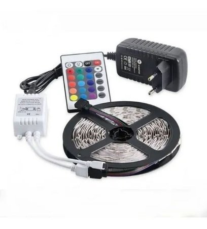 KIT DE FITA LED 2835 RGB 5M C/FONTE E CONTR - MB