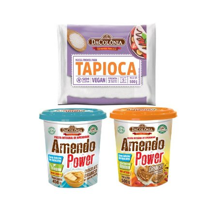 COMBO FIT (1 TAPIOCA + 1 AMENDOPOWER CHOCOLATE BRANCO 450G + 1 AMENDOPOWER CRUNCHY 500g)