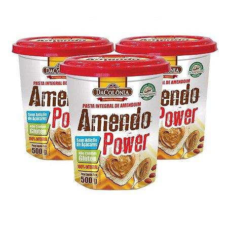 Kit 03 un de Pasta Integral de Amendoim Amendo Power 500g