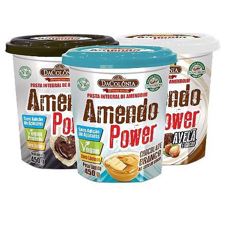 COMBO CHOCO VEGAN - Kit com 3 Amendo Power (1 un de cada sabor: Brigadeiro, Choco Branco e Avelã)