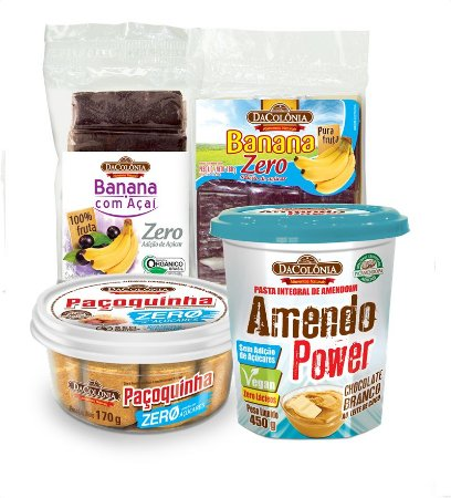 COMBO FIT (1 un Banana Zero Açaí 150g, 1 un Banana Zero 180g, 1 un Paçoca Zero 170g e 1 un Amendo Power Choco Branco 450g).