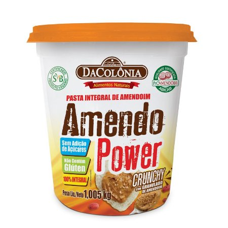 Pasta Integral de Amendoim Amendo Power Crunchy de Granulado de Amendoim - 1,005kg