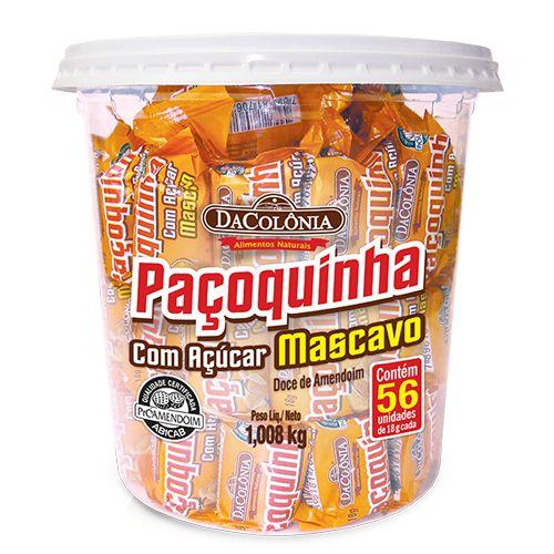 Paçoca Rolha com Açúcar Mascavo Pote com 56un de 18g - 1,008kg
