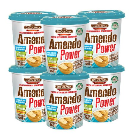 Kit 06 unidades de Amendo Power Chocolate Branco ao Leite de Coco